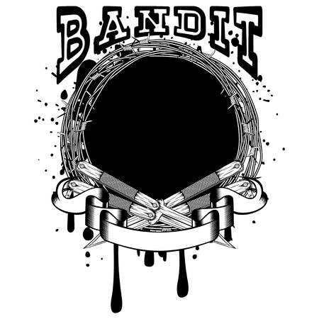 Vector illustration two crossed daggers. Frame of barbed wire. Inscription bandit. For tattoo or t-shirt design.