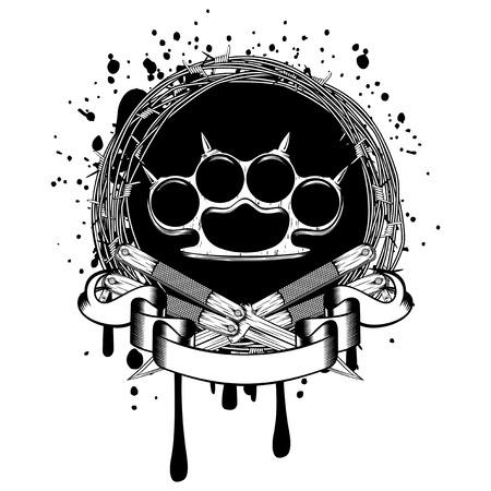 temperino: Illustrazione vettoriale due pugnali incrociati e articolazione in ottone. Per il disegno del tatuaggio o della maglietta. Vettoriali