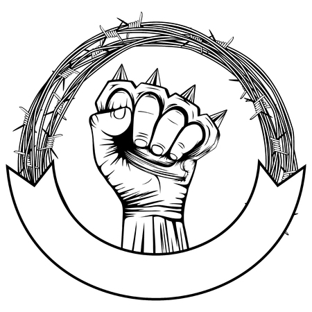 Vector illustration barbed wire and hand with brass knuckle. For tattoo or t-shirt design.