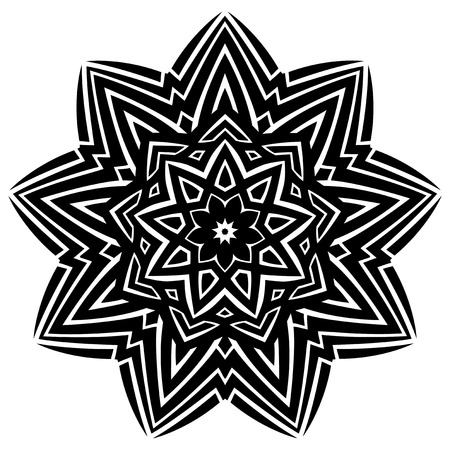 ceiling: Abstract vector black and white illustration round beautiful ornament. Decorative vintage ethnic mandala pattern. Design element for tattoo or logo. Illustration