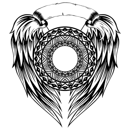Abstract vector black and white illustration round beautiful frame on wings. Decorative vintage ethnic mandala pattern. Design element for tattoo or logo.