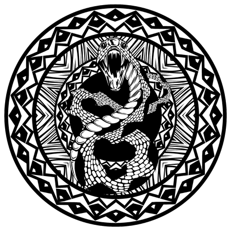 Abstract vector illustration black and whide snake with open mouth on round ornament. Design for tattoo or print t shirt.