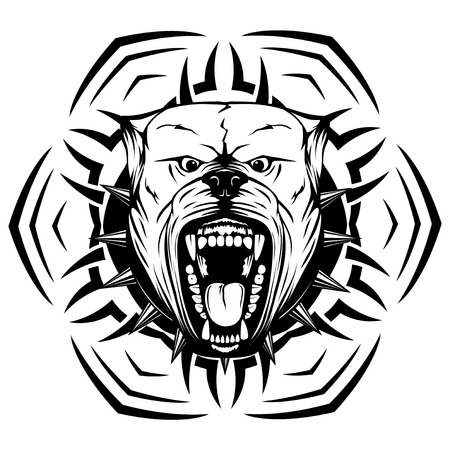pit: Abstract vector black and white illustration portrait of aggressive dogs on round pattern. Head of dog breed pit bull with open mouth and collar with spikes. Illustration