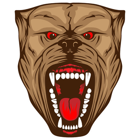 Abstract vector color illustration portrait of aggressive dogs. Head of dog breed pit bull with open mouth. Illustration