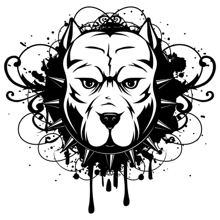 Abstract vector black and white illustration portrait of fighting dogs on grunge background. Head of dog breed pit bull in collar with spikes.