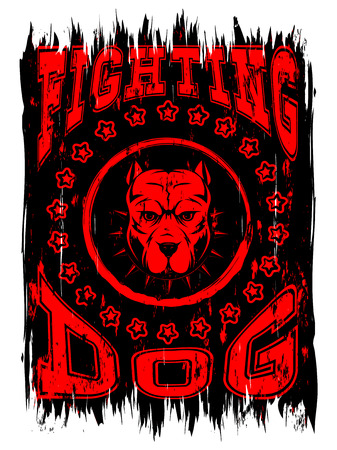 Abstract vector illustration dog on grunge background. Head of dog breed pit bull in collar with spikes. Inscription fighting dog. Illustration