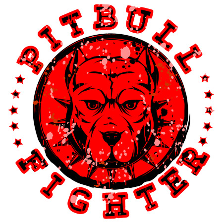 Abstract vector illustration red stamp with head dog breed pit bull with collar with spikes. Inscription pitbull fighter. Ilustração