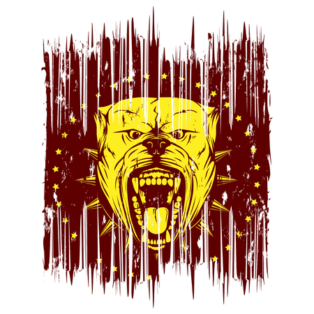 Vector illustration of aggressive snarling dog breed pit bull with an open mouth. Head pitbull with collar with spikes. Illustration