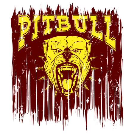 Vector illustration of aggressive snarling dog breed pit bull with an open mouth. Head dog with collar with spikes. Inscription pitbull.