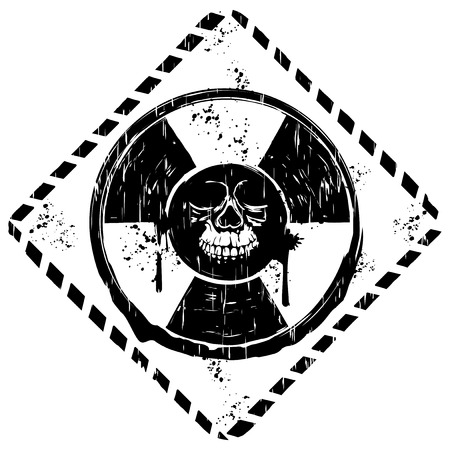 Abstract vector illustration grunge black and white symbol radiation to skull