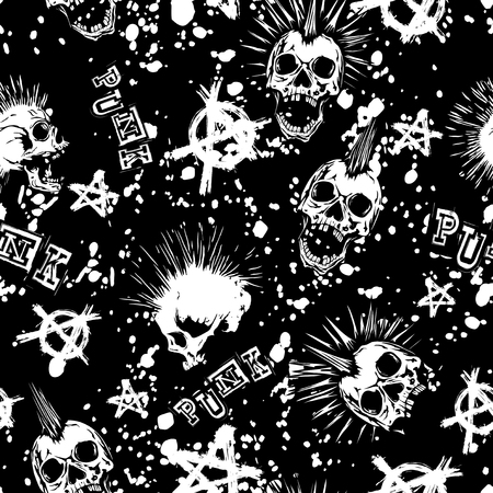 Abstract vector illustration white punk skull with mohawk hair and symbol anarchy on black backdrop. Inscription punk. Seamless grunge background . Design for print on fabric or t-shirt.