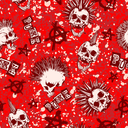 Abstract vector illustration color punk skull with mohawk hair and symbol anarchy on grunge backdrop. Inscription punk. Seamless background. Design for print on fabric or t-shirt.
