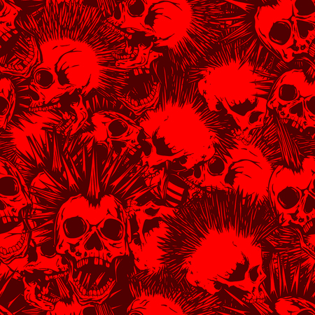 Abstract vector illustration red and bordeaux punk skulls with mohawk hair seamless background. Design for print on fabric or t-shirt. Çizim