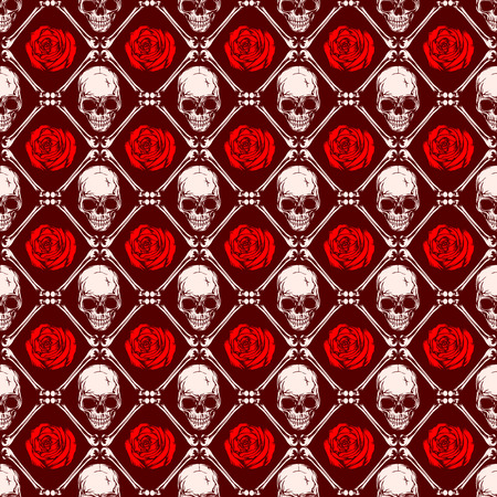 Abstract vector illustration skulls and red roses. Seamless background for print on fabric or t-shirt.