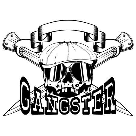 Vector illustration skull in cap with sunglasses and crossed knifes. Inscription gangster. For tattoo or t-shirt design.