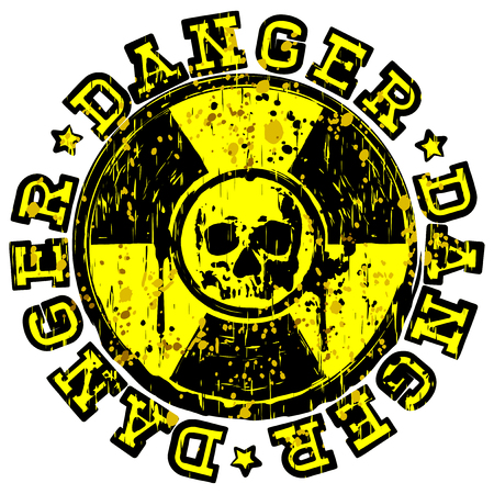 Vector illustration yellow and black stamp with radioactivity sign and inscription in circle danger. In center of radiation symbol abstract grunge skull