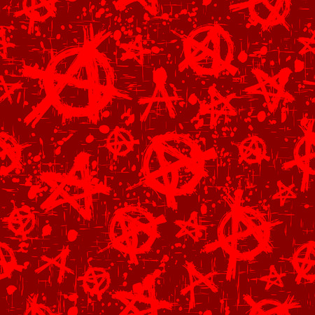 uprising: Abstract vector illustration red and bordeaux anarchy seamless background. Illustration
