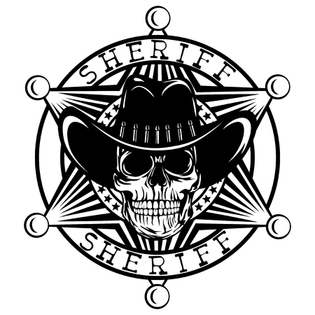 A Vector illustration skull in cowboy hat on sheriff star. Lettering sheriff. Illustration