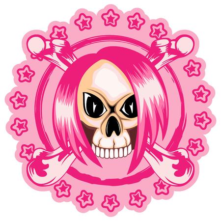 skull and crossed bones: A Vector illustration stamp emo skull with hair and crossed bones. For t-shirt design.