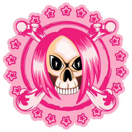 A Vector illustration stamp emo skull with hair and crossed bones. For t-shirt design.