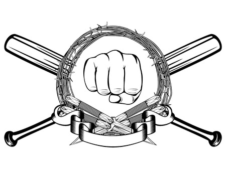A Vector illustration two crossed daggers and baseball bats. Frame of barbed wire and fist. For tattoo or t-shirt design.