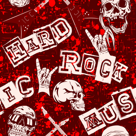 Abstract vector illustration colored hard rock seamless grunge background. Skull in sunglasses or bandana. Hand with gesture rock. Inscription hard rock music. Design for print on fabric or t-shirt. Stok Fotoğraf - 82348117