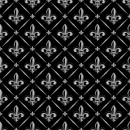 A Vector illustration black and white seamless background with lily (fleur de lis) for print fabric or  poster illustration.