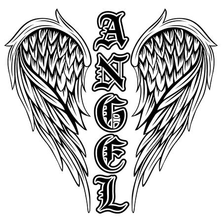 Abstracte vector illustratie zwart-witte vleugels en opschrift engel in de gotische stijl. Ontwerp voor tattoo of print t-shirt.