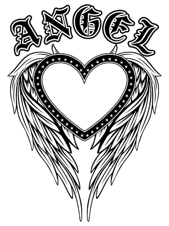 Abstract vector illustration frame black and white heart with stars on wing. Inscription angel in the Gothic style. Design for tattoo or print t-shirt .