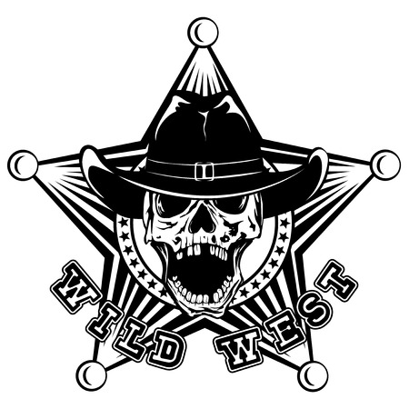 Vector illustration skull in cowboy hat on sheriff star. Lettering wild west.