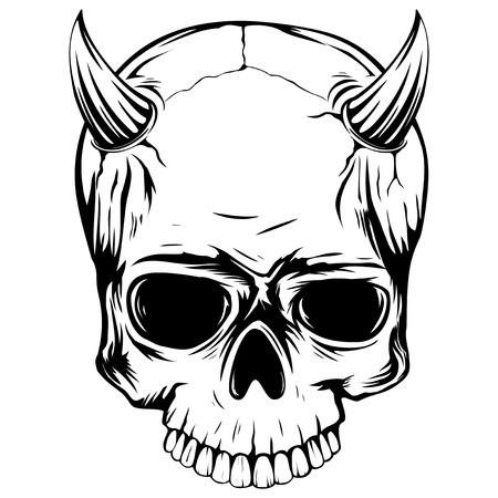 抽象的なベクトル イラスト白黒頭蓋骨悪魔角を持つ。タトゥーのデザインやプリント t シャツ。
