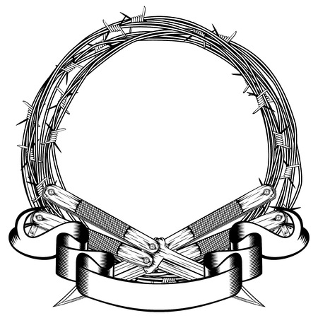 Vector illustration two crossed daggers. Frame of barbed wire. For tattoo or t-shirt design.