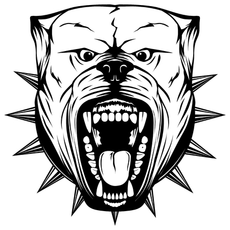 Abstract vector black and white illustration portrait of aggressive dogs. Head of dog breed pit bull with open mouth and collar with spikes. Illustration
