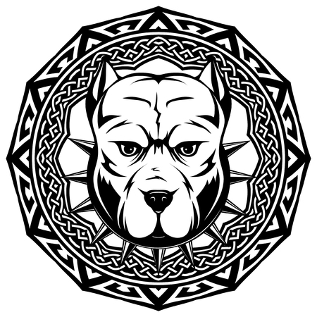 Abstract vector black and white illustration portrait of fighting dogs on round pattrn. Head of dog breed pit bull in collar with spikes. Illustration