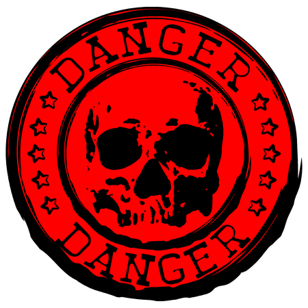 Abstract vector illustration red old round stamp with inscription danger and grunge skull Illustration