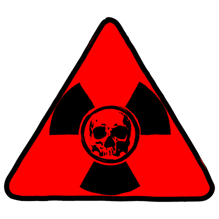 Vector illustration red triangle radiation logo and abstract grunge skull