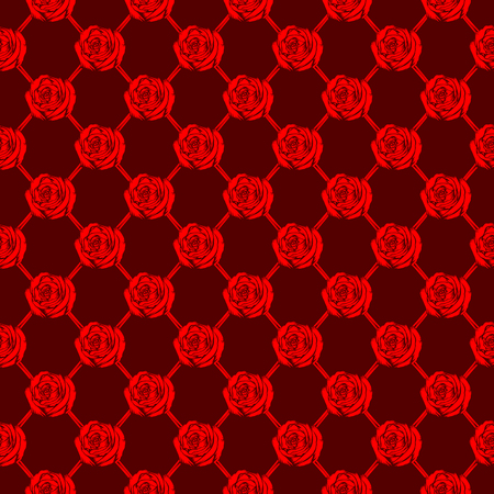 Abstract vector illustration red roses on maroon backdrop. Seamless background for print on fabric or t-shirt.