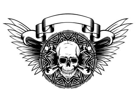 Vector illustration grunge skull with crossed bones and round pattern on wings. Design for tattoo or print t-shirt. Illustration