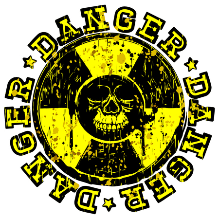 Vector illustration yellow and black round stamp with radioactivity sign and inscription in circle danger. In center of radiation symbol abstract grunge skull