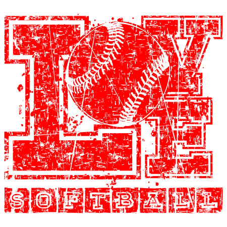 winning pitch: Vector red inscription love softball with ball in grunge frame. Design for tattoo or print t-shirt.