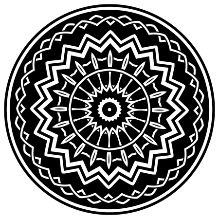 knotwork: Abstract vector black and white illustration round beautiful ornament. Decorative vintage ethnic mandala pattern. Design element for tattoo or logo. Illustration