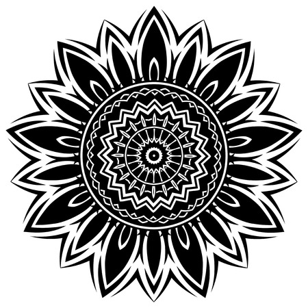 Abstract vector black and white illustration round beautiful ornament.