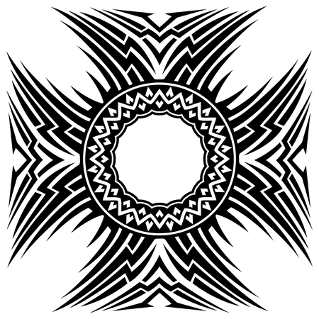 ceiling: Abstract vector black and white illustration beautiful tracery frame.