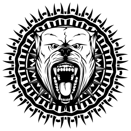 Abstract vector black and white illustration portrait of aggressive dogs on round pattern. Head of dog breed pit bull with open mouth and collar with spikes. Illustration