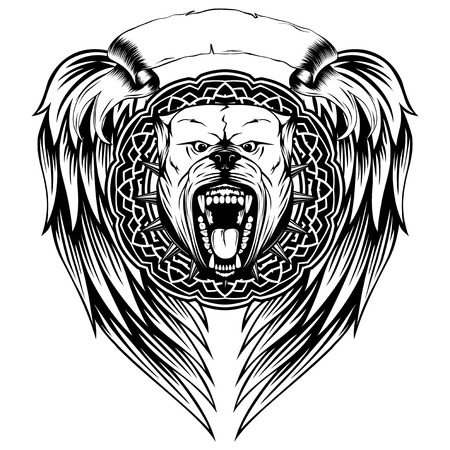 Vector illustration of aggressive snarling dog breed pit bull with an open mouth. Head pitbull with collar with spikes in round frame on wings.