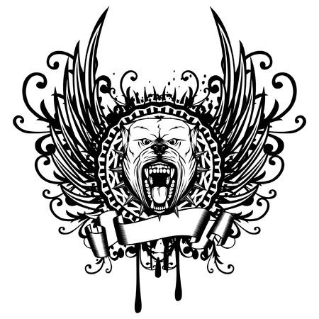 Vector illustration of aggressive snarling dog breed pit bull with an open mouth. Head pitbull with collar with spikes in round frame on abstract patterns and wings.