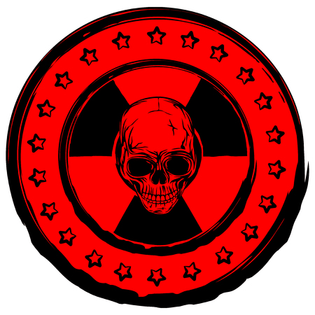 Vector illustration red old dirty round stamp with radiation sign and abstract skull