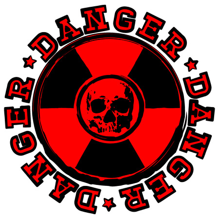 Vector illustration red round stamp with radioactivity sign and lettering danger. In center of radiation symbol abstract grunge skull