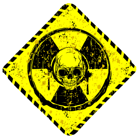 Vector illustration rhombic grunge yellow symbol radiation to skull with lettering danger Illustration