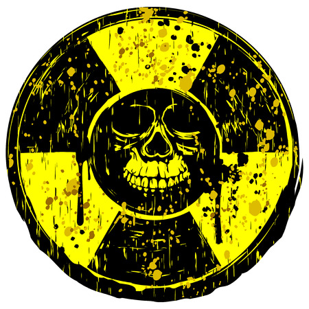 radiactividad: Vector illustration yellow old dirty round radiation sign and grunge skull